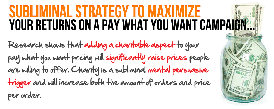 Subliminal Strategy To Maximize Your Returns On A Pay What You Want Campaign
