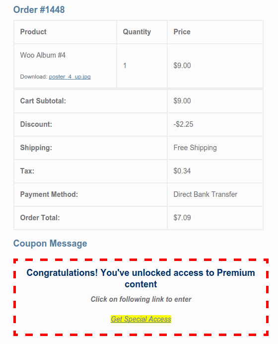 WooCommerce Coupon Message 2