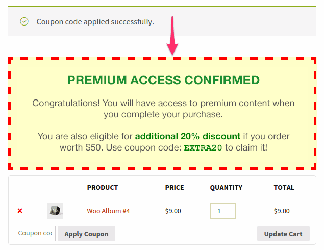 Coupon message showing on cart page