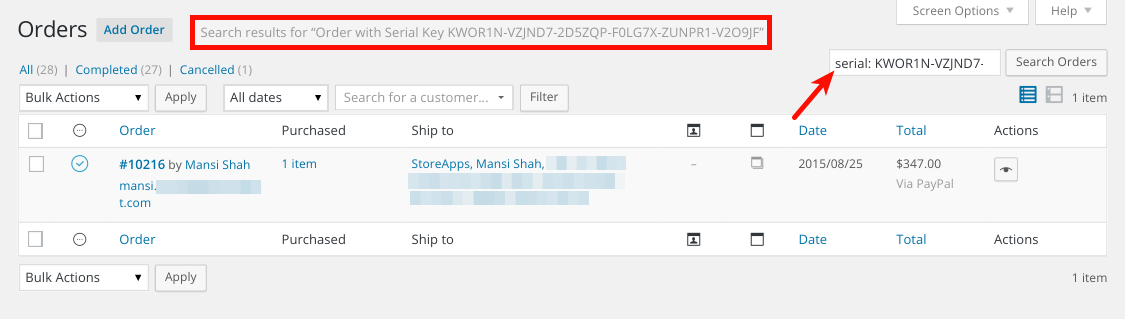How to Search Filter Orders using Serial Keys