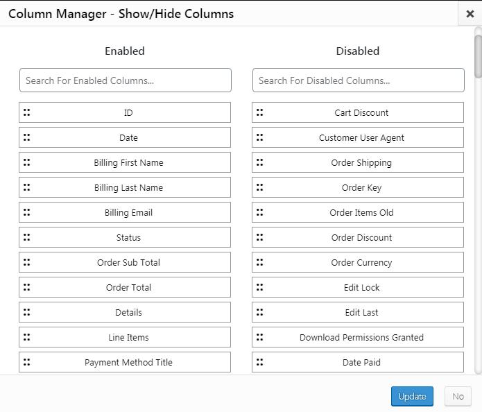 Show hide admin columns WordPress