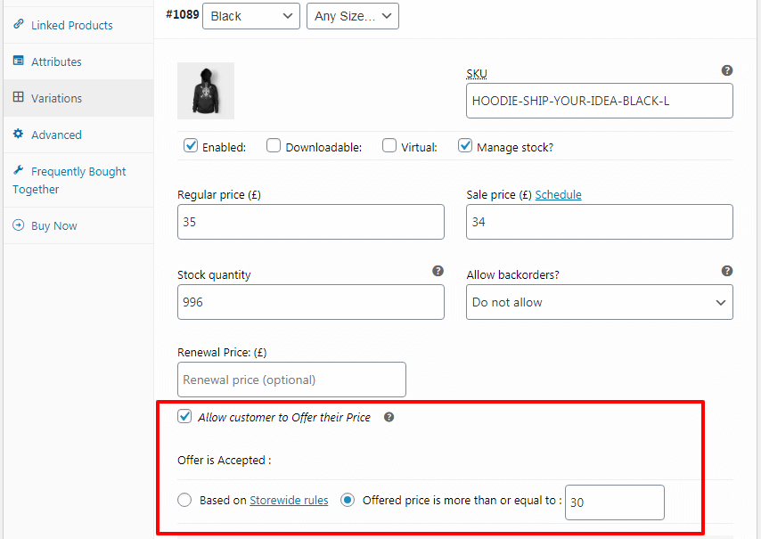 woocommerce offer your price variable product