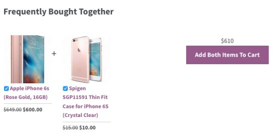 Frequently bought together for woocommerce example