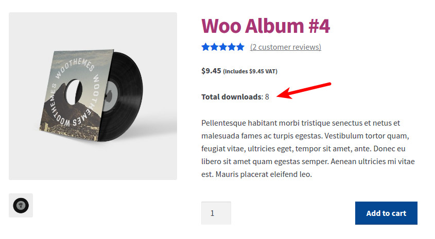 Download count on simple product page in WooCommerce