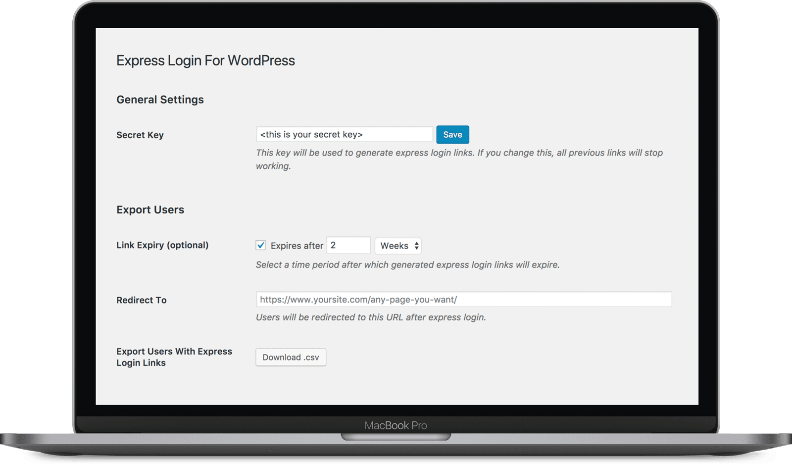 WordPress-WooCommerce-Express-Login-with-link-plugin-settings