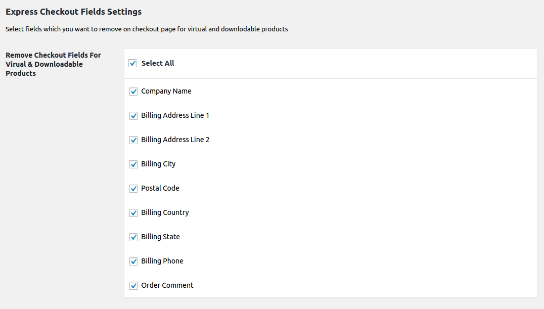 woocommerce enable / disable billing fields virtual and downloadable products