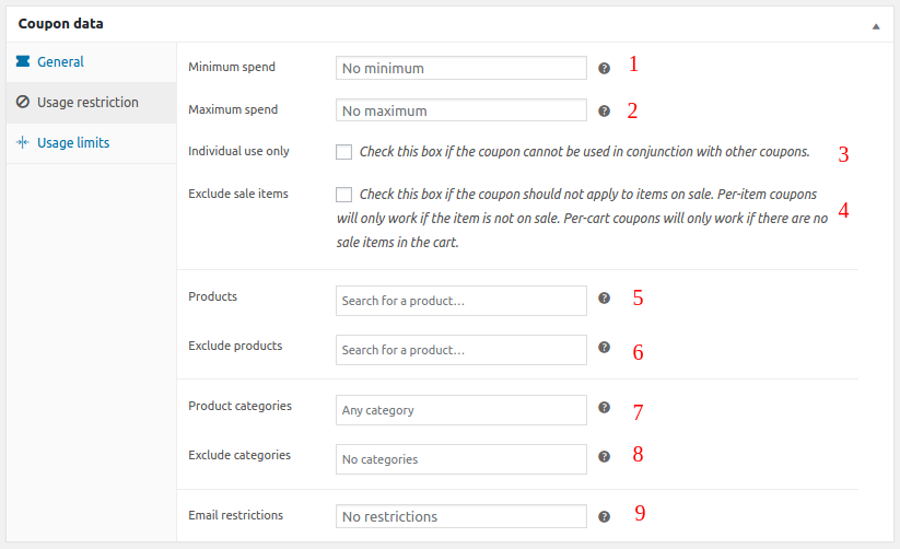 WooCommerce coupons set coupon usage restrictions