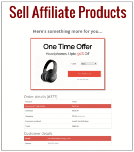 Offer shown on affiliate page