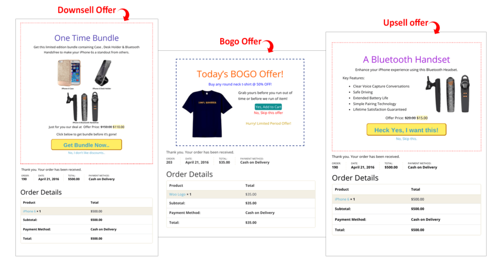 Show multiple offers based on user's action