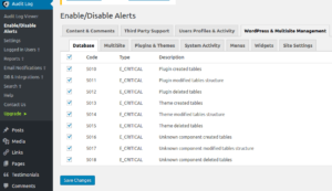 wp security audit log enable disable alerts