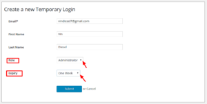 create temporary login account wordpress