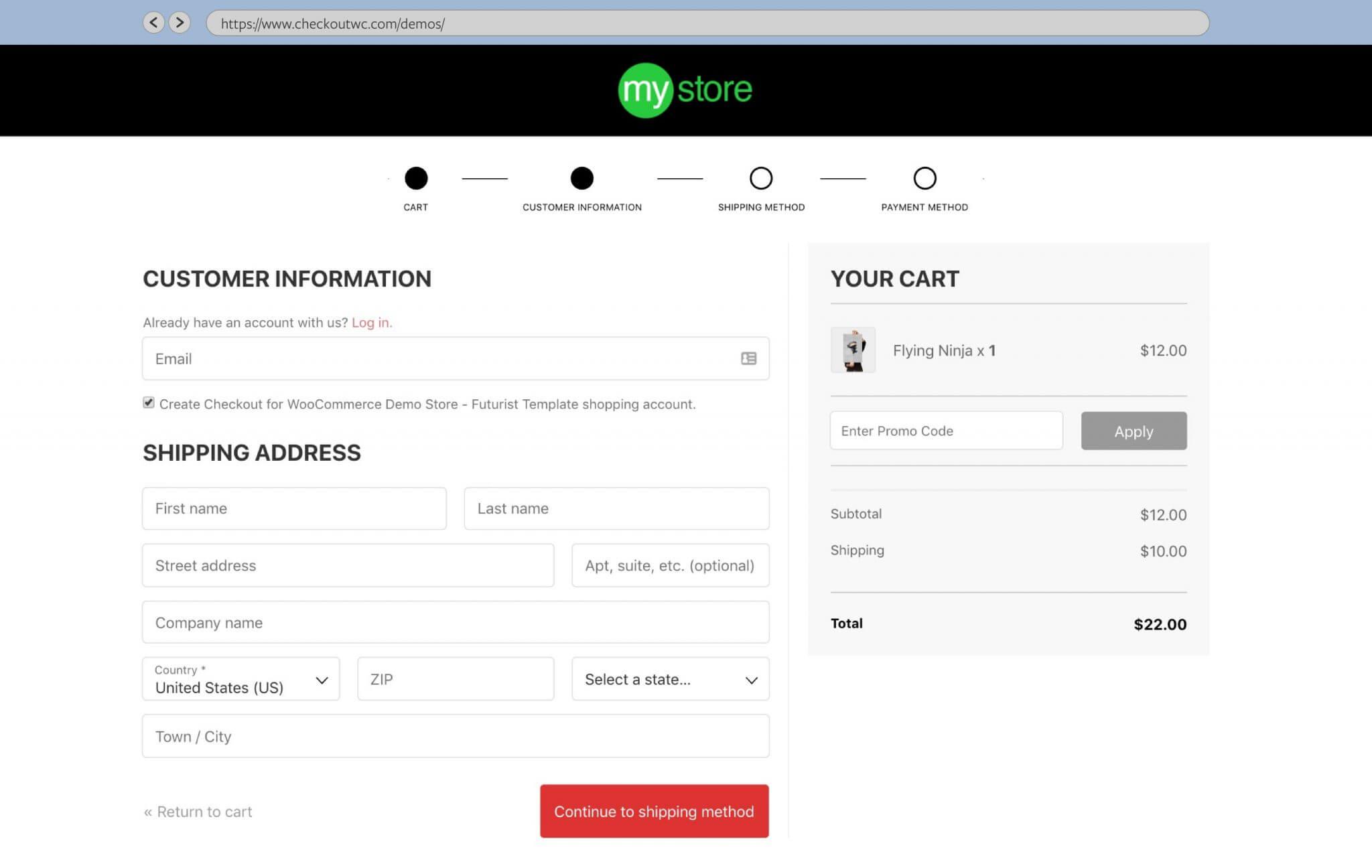 CheckoutWC customer details step