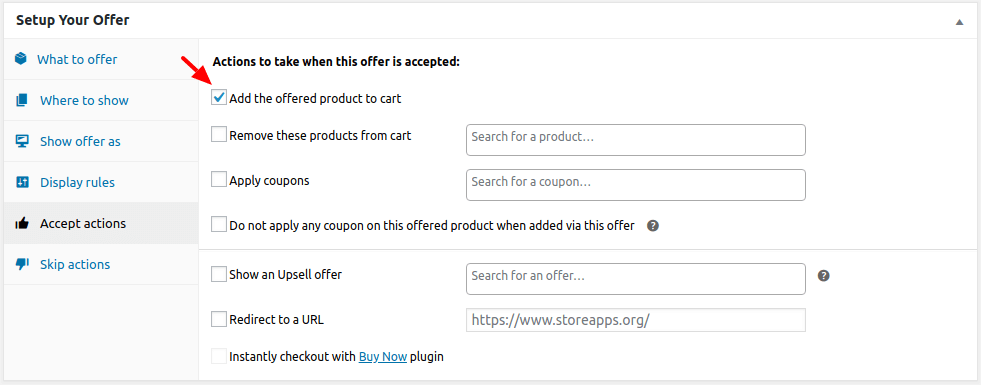 Add offered product to cart if user accepts the offer