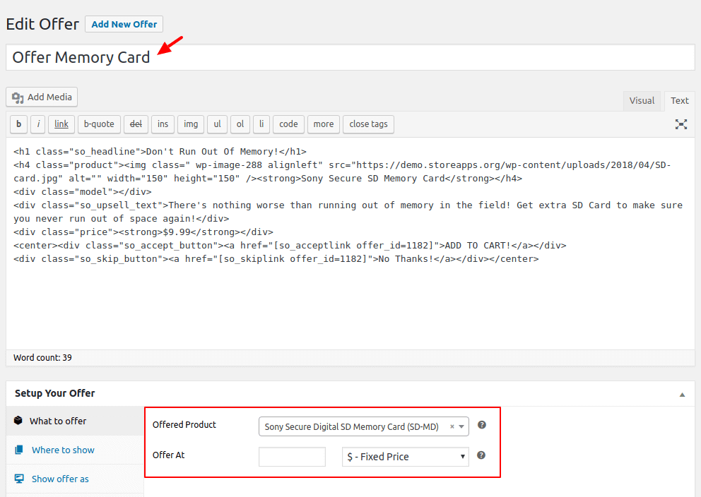 Select product to show cross-sell