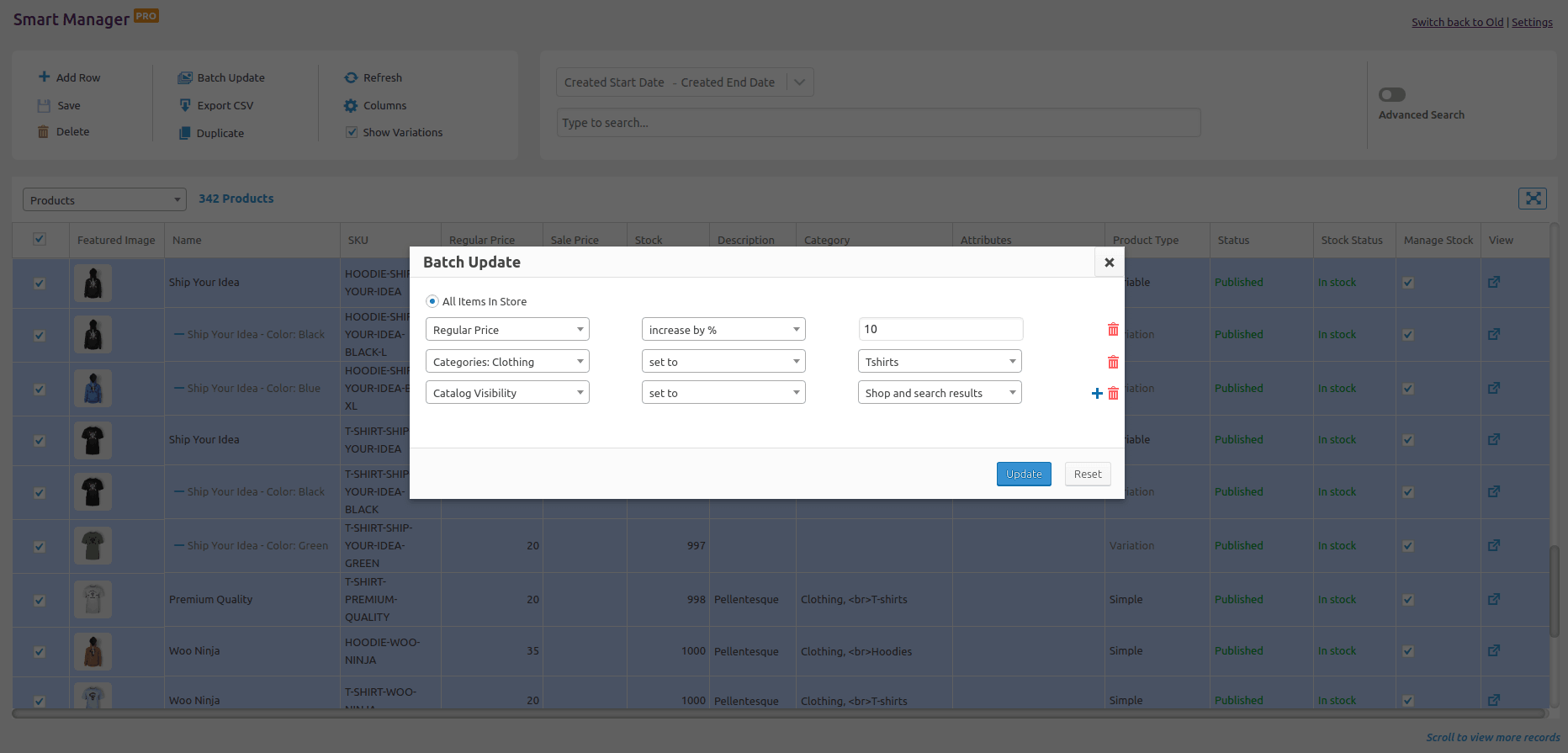 woocommerce bulk edit operation