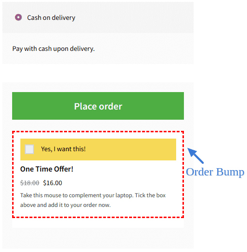 WooCommerce order bump after button example