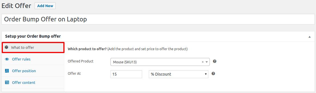 woocommerce order bump set offer