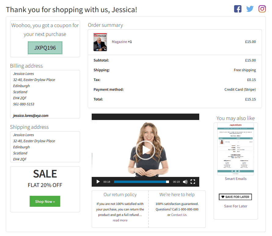 customized woocommerce thank you page using storeapps plugin