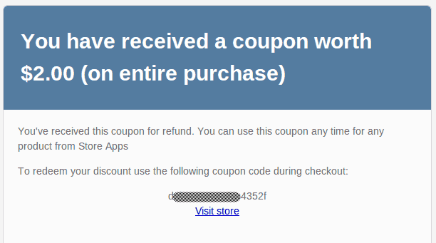 coupon code email to customer using smart refunder