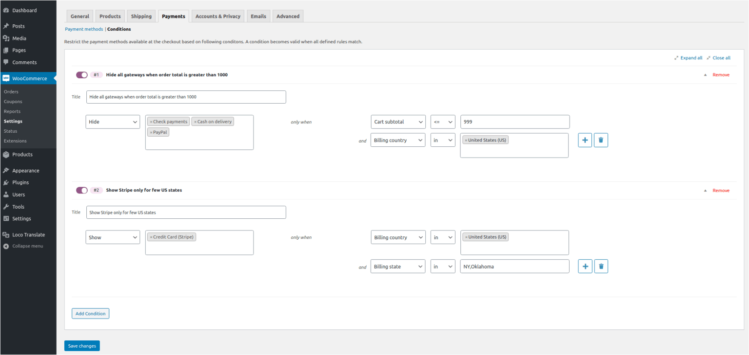 Conditional Payment Methods for WooCommerce settings