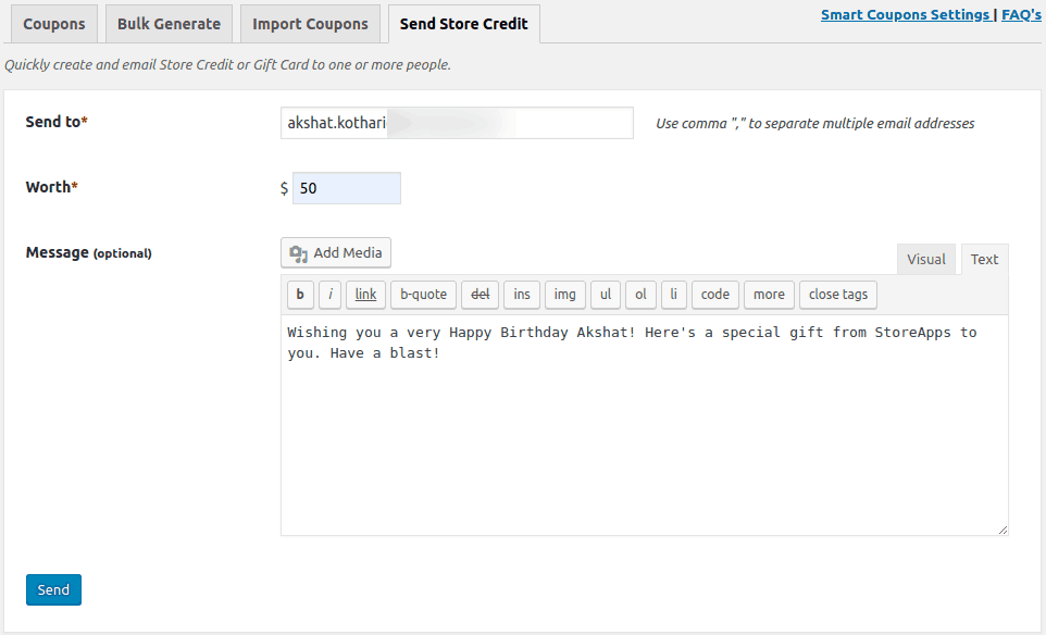 send store credit
