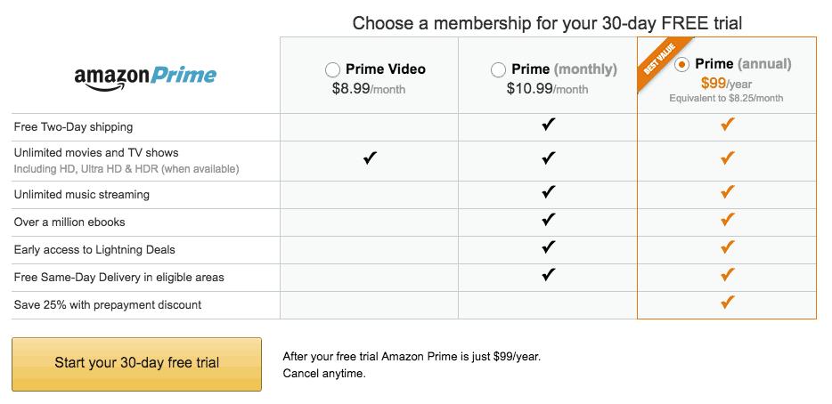 Amazon Prime membership plan signup