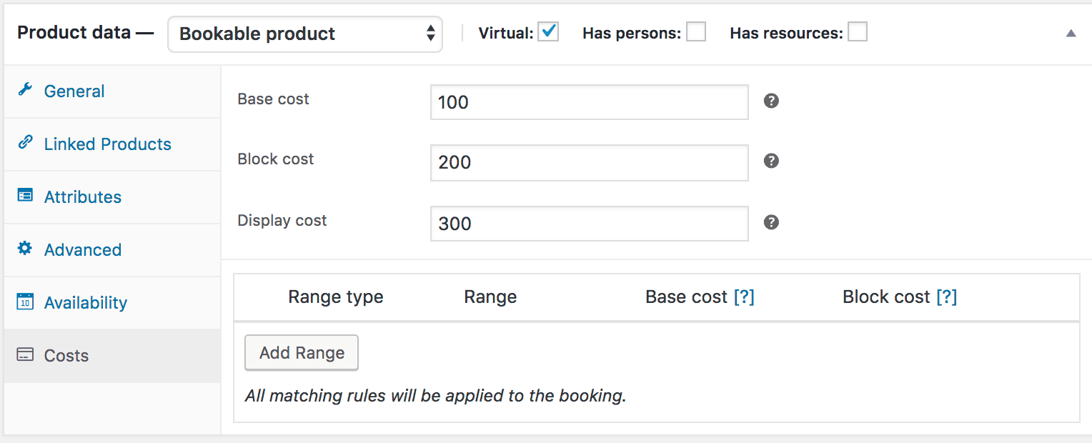 add bookings cost