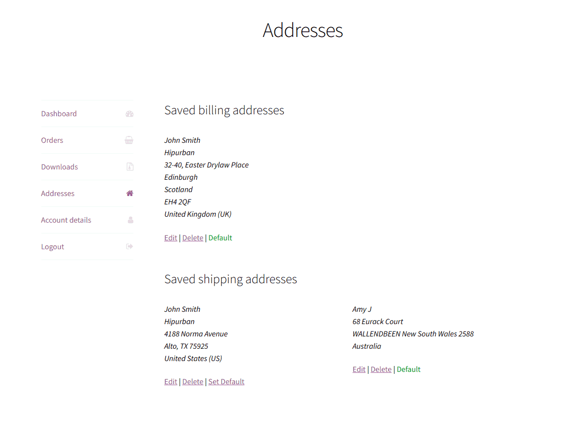 manage saved addresses from my account