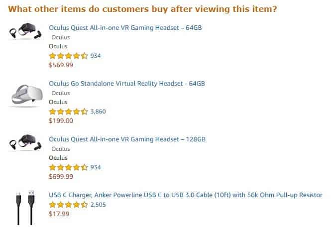 cross-selling example on amazon