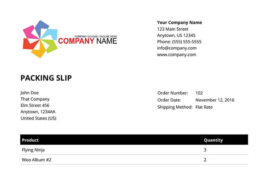 woocommerce invoices and packing slips plugin packing slip screenshot