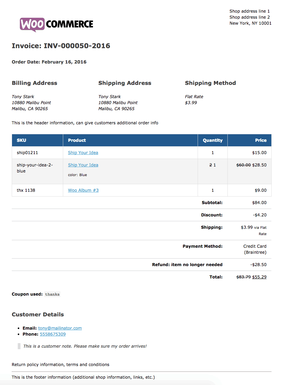 WooCommerce Print Invoices & Packing Lists plugin pdf invoice