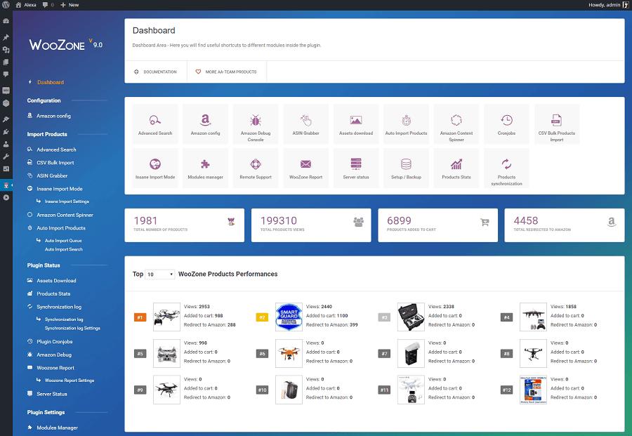 WooCommerce Amazon affiliates dashboard
