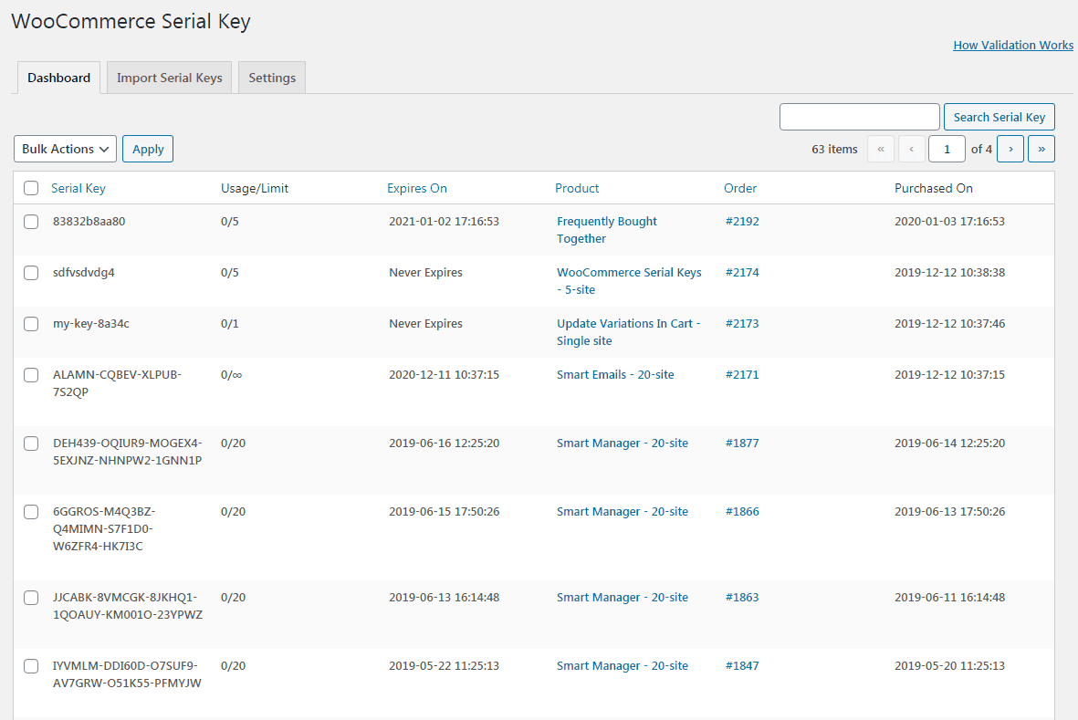 serial keys generated using storeapps woocommerce license manager plugin