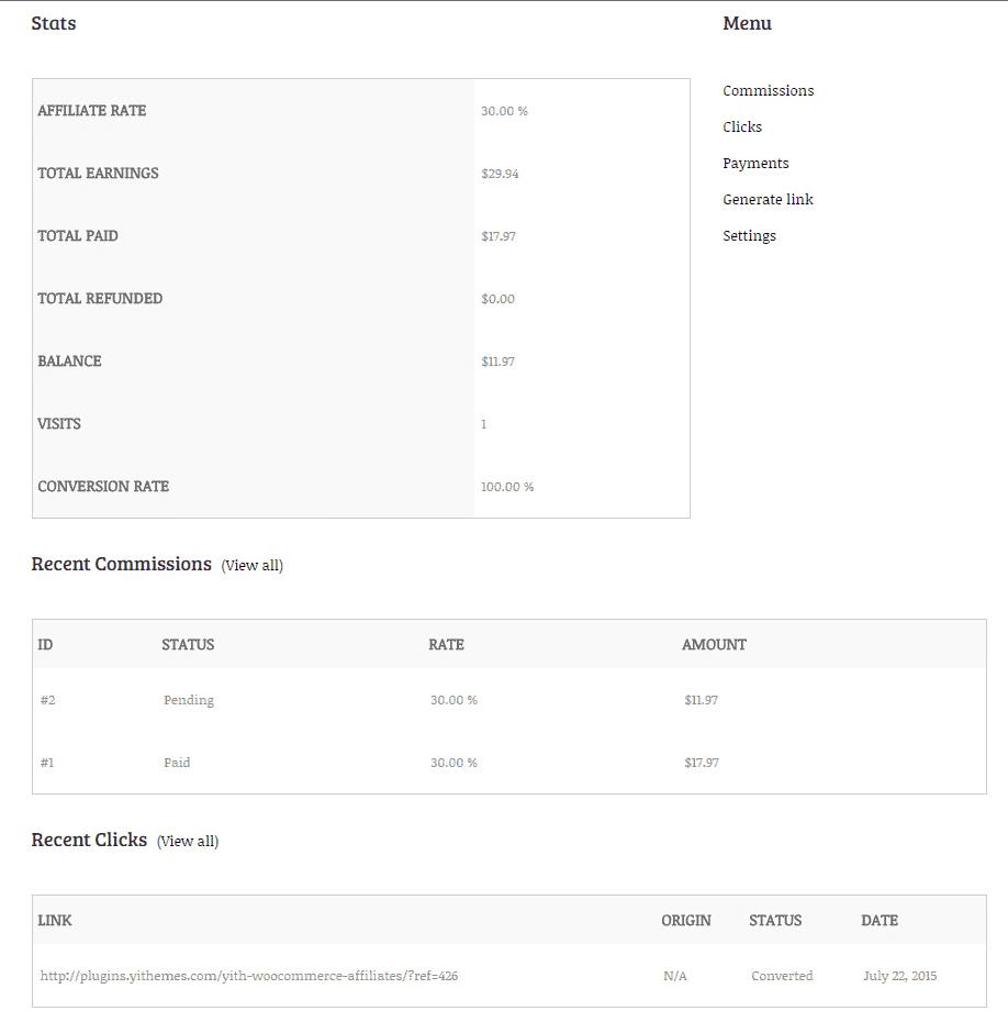 YITH WooCommerce Affiliates dashboard
