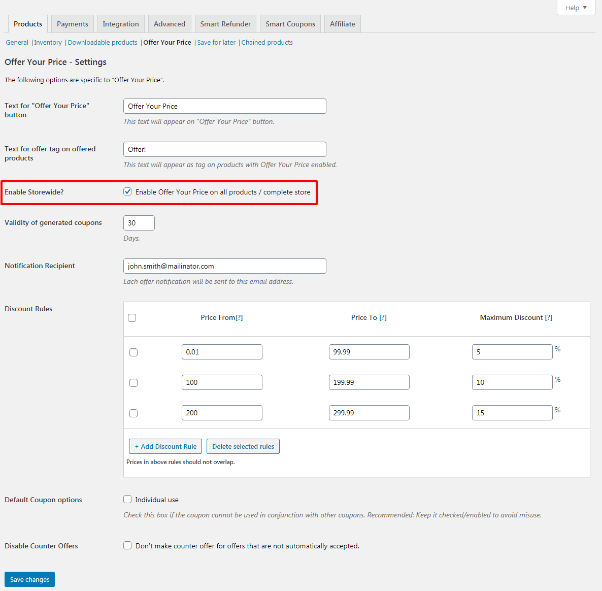 How to enable Storewide Settings