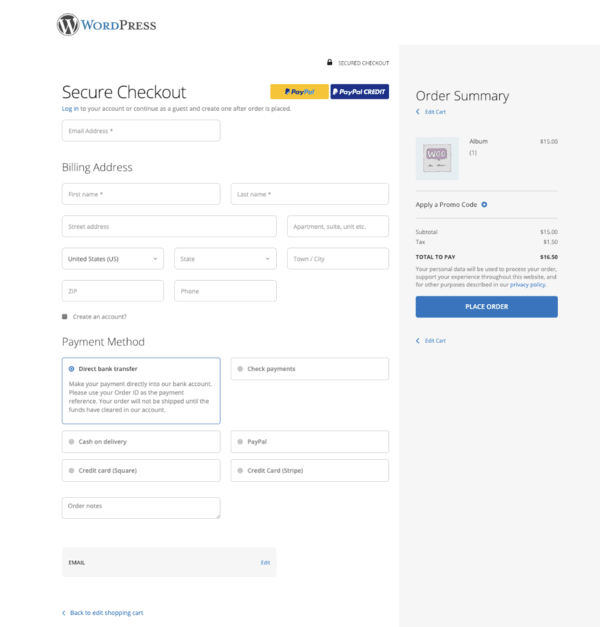 one page checkout for woocommerce