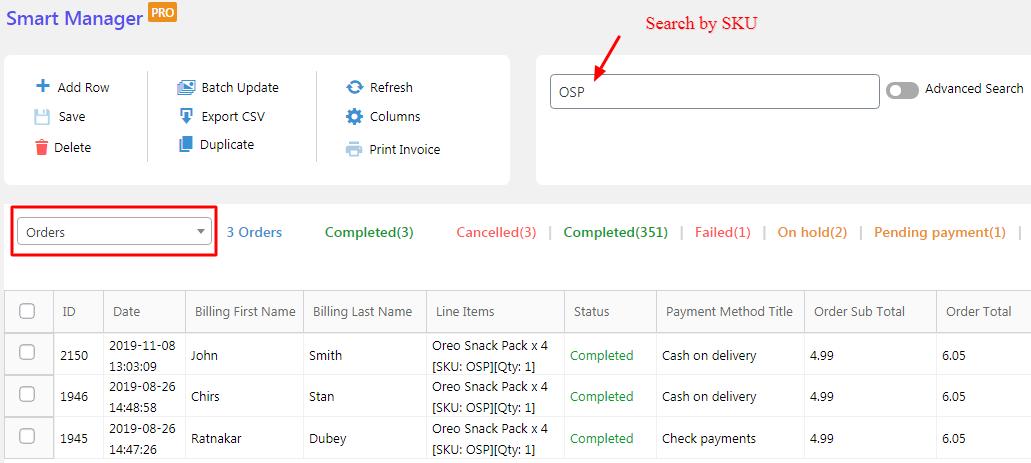 find orders based on sku