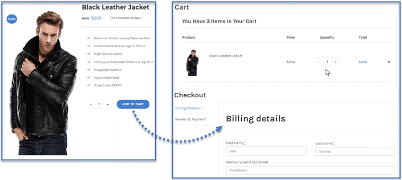 skip cart or checkout on same page woocommerce