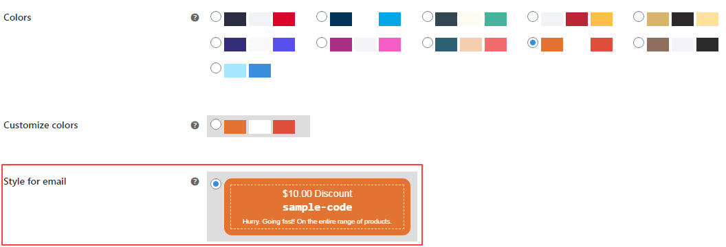 smart coupons styles in email