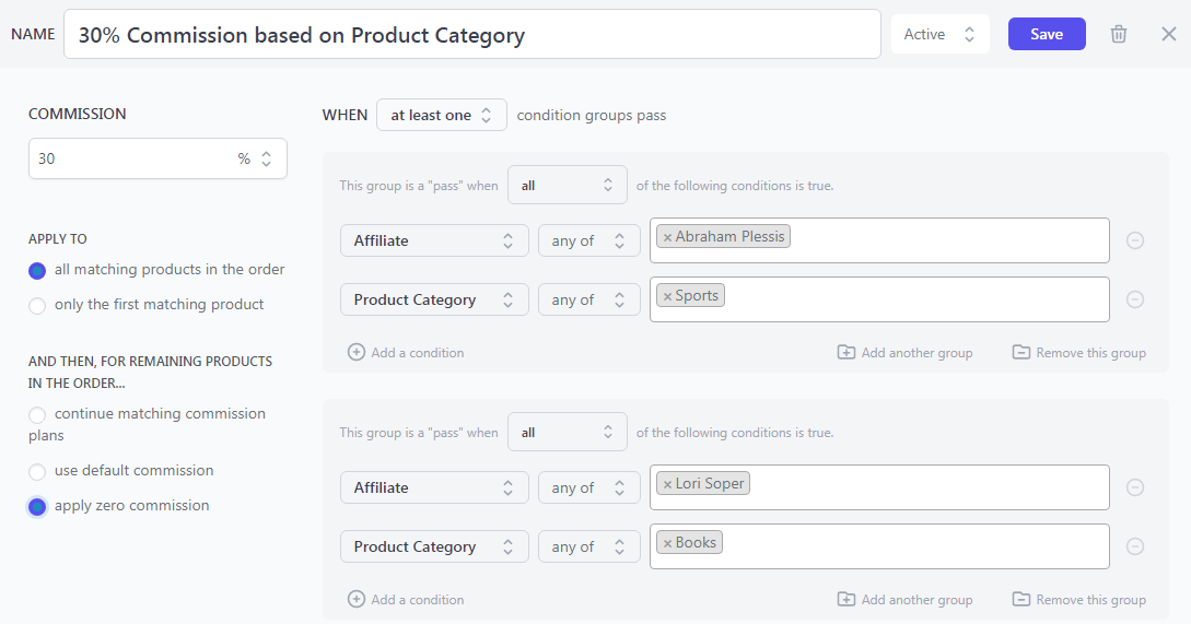 product category based commission woocommerce