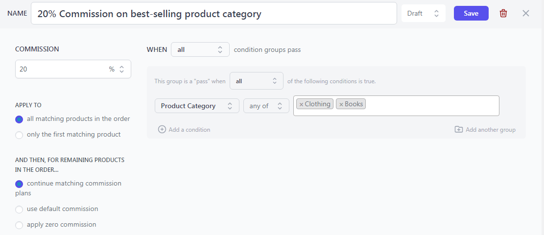 woocommerce product category based affiliate commission