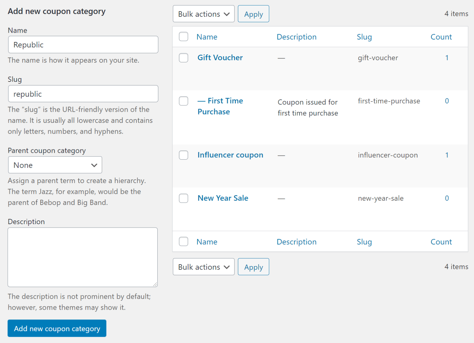 Add new coupon category WooCommerce
