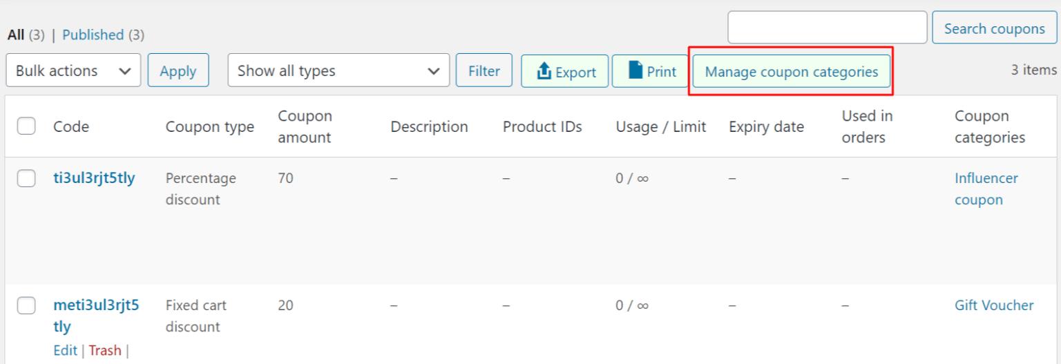 WooCommerce manage coupon category