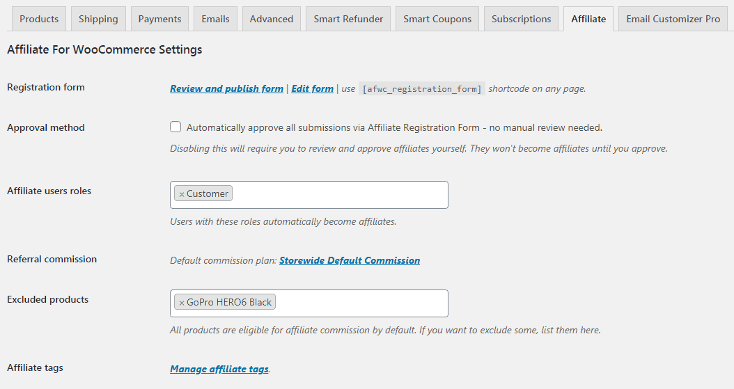 Affiliate for WooCommerce settings form user roles