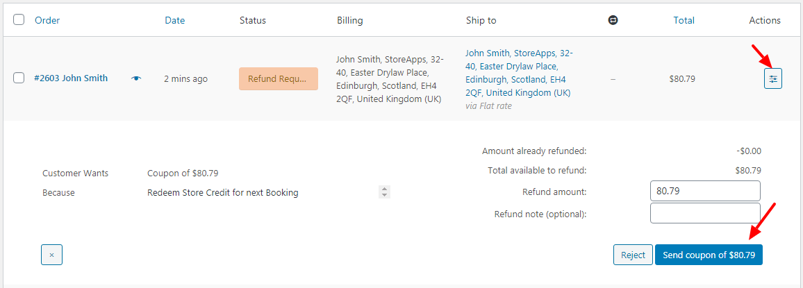 WooCommerce Bookings store credit issue for cancellation