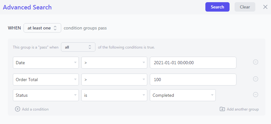 Advanced search filters for export