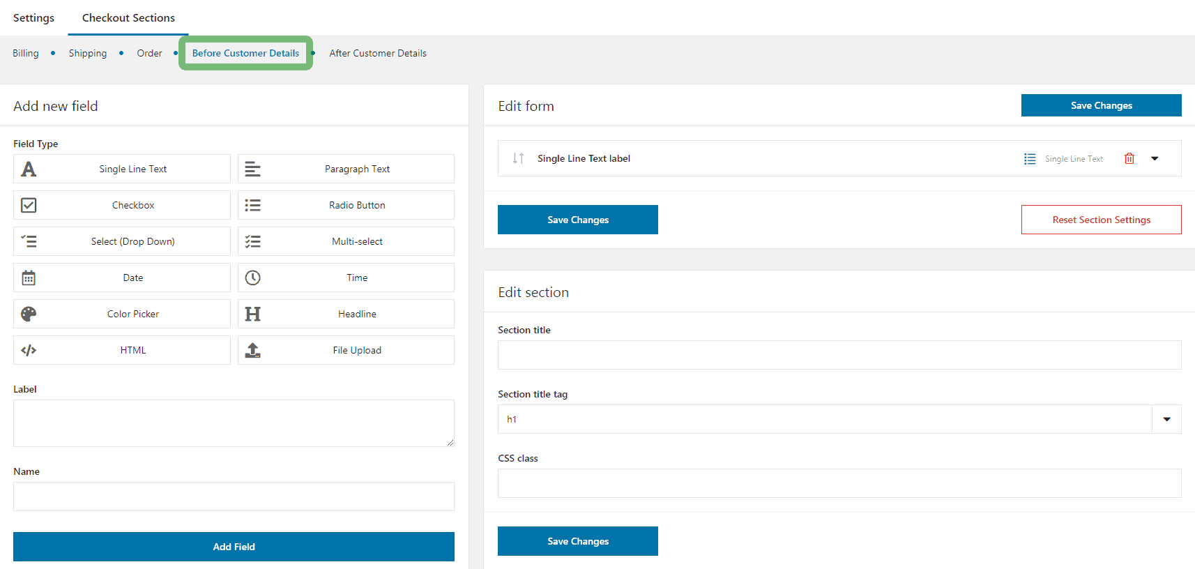Flexible Checkout Fields plugin