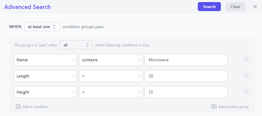 Search conditions for bulk edit