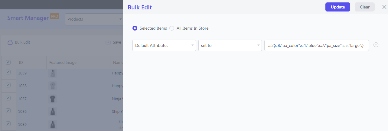 Set WooCommerce attributes by default in bulk with Smart Manager