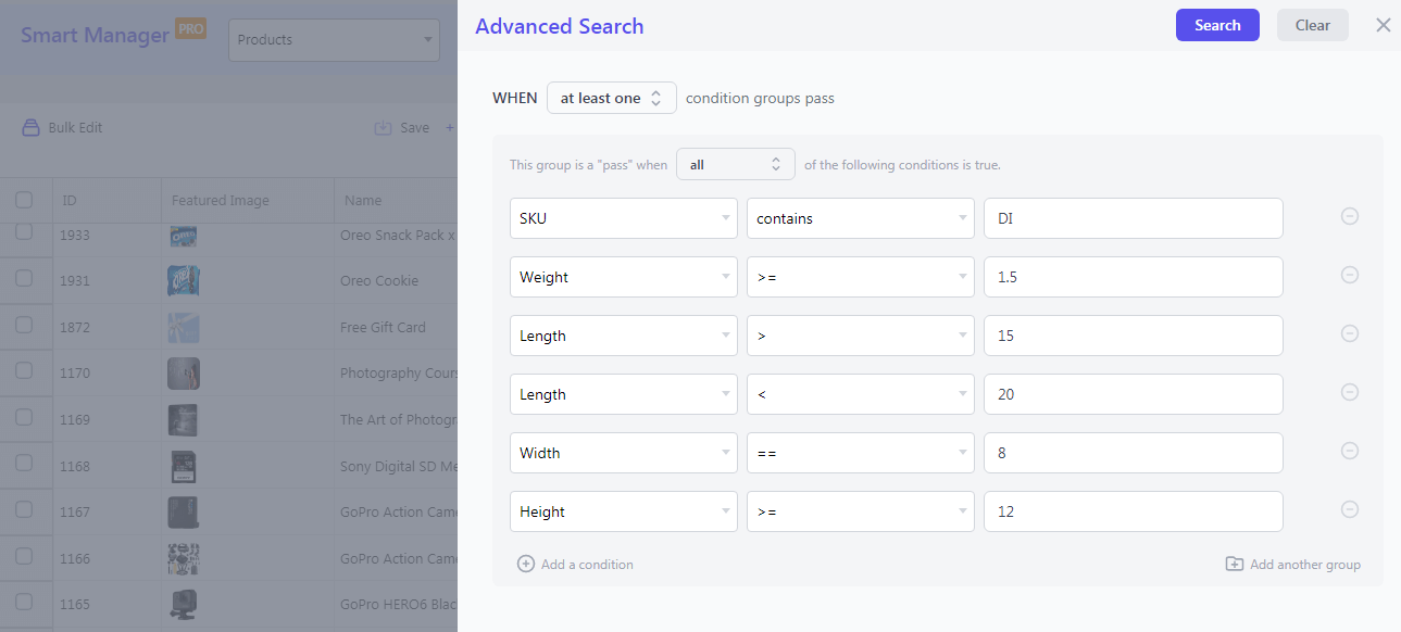 search inventory based on weight length width height